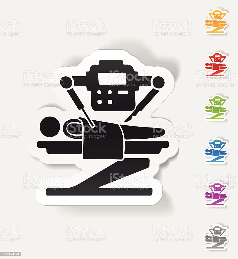 realistic design element. robot surgeon vector art illustration
