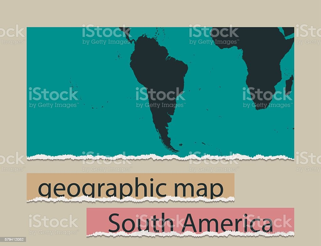 Realistic Design Element South America Geographic Map And Torn Paper ...