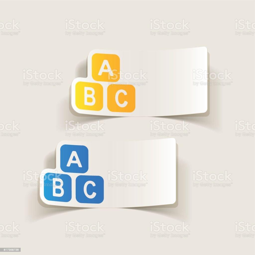 Realista elemento de diseño: Cubo de juguete - ilustración de arte vectorial