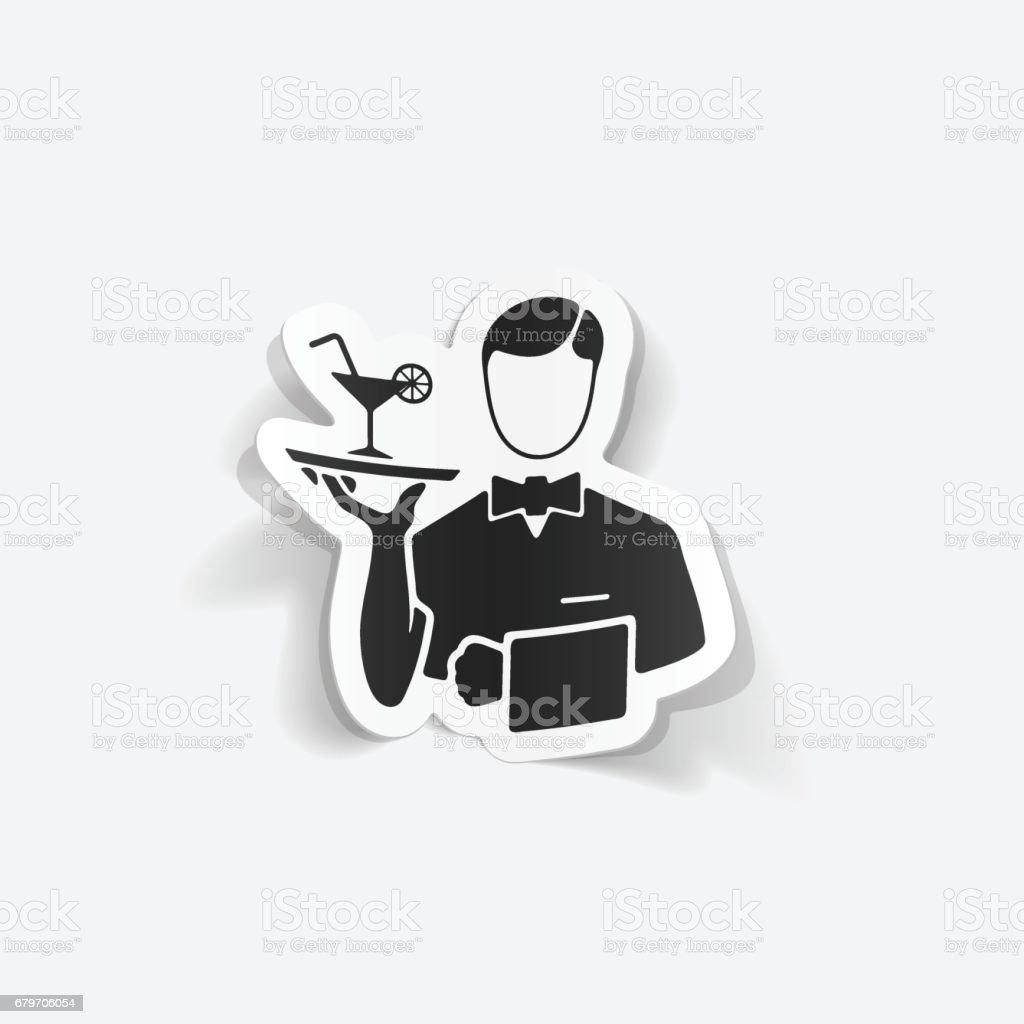 realistic design element. waiter vector art illustration