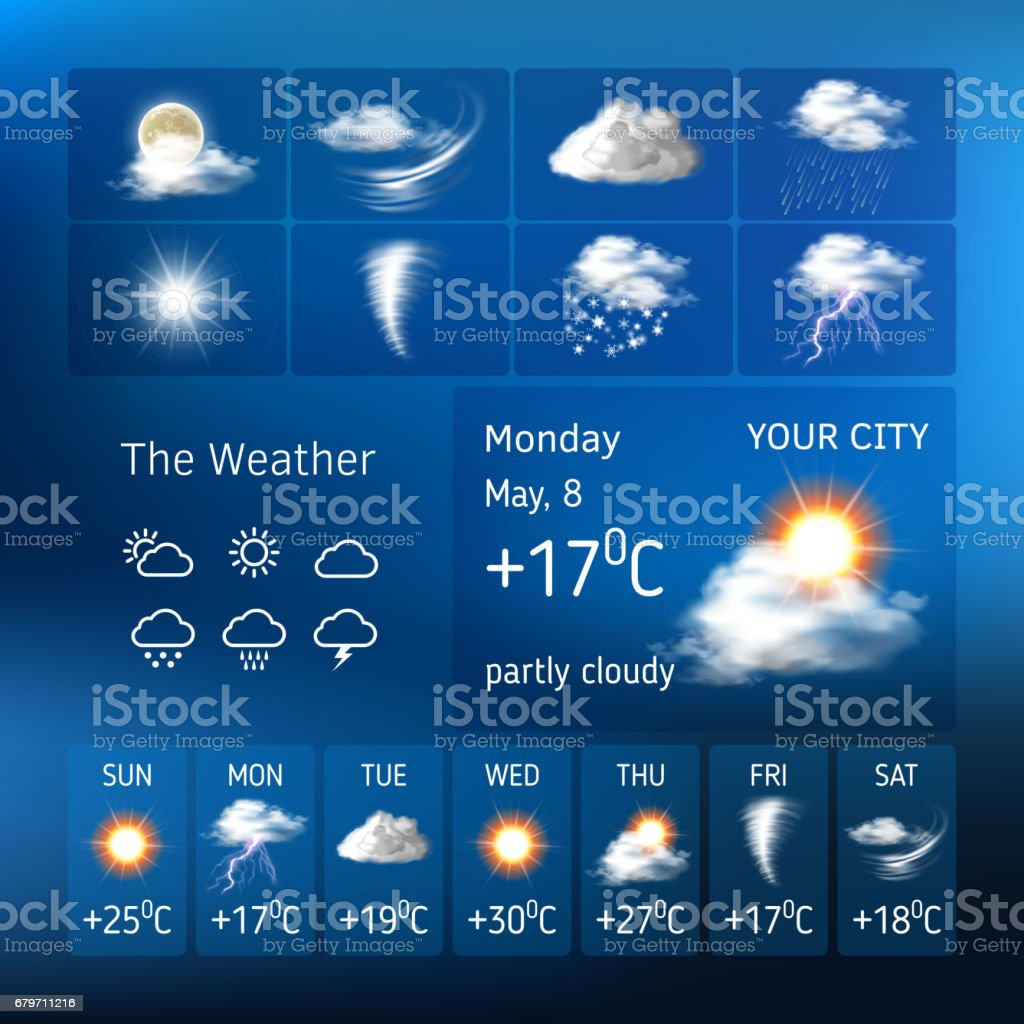 Realistic design for a mobile weather forecast application vector art illustration