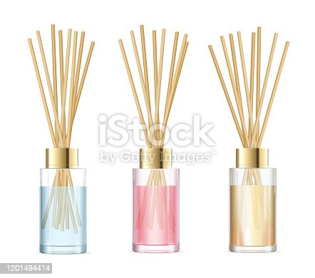 Realistic Detailed 3d Aromatherapy Set Concept. Vector illustration of Glass Jar Different Color with Wooden Aroma Sticks