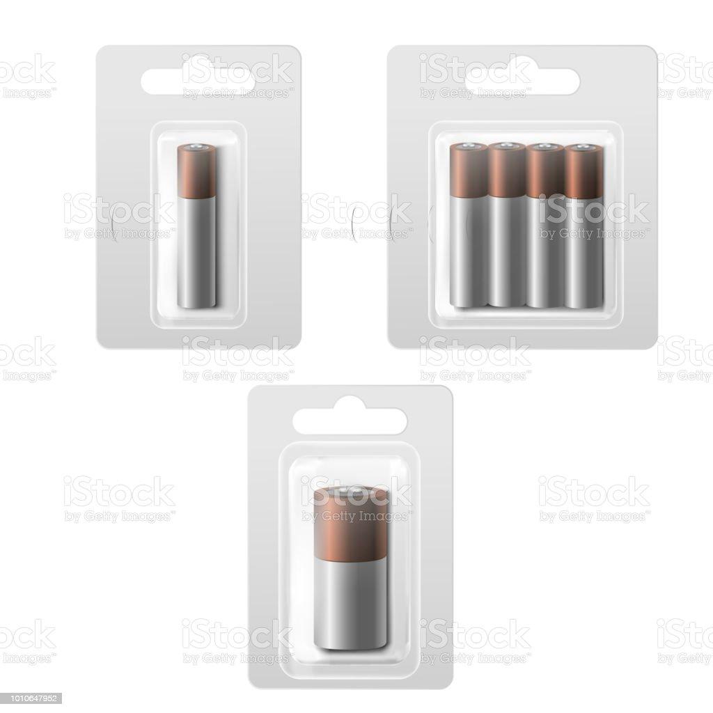 Realistic Detailed 3d Batteries in Blister Set. Vector vector art illustration