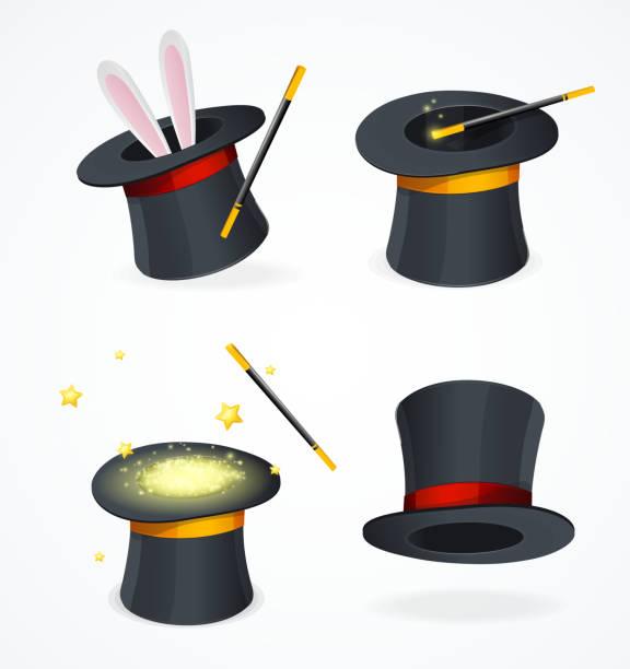 stockillustraties, clipart, cartoons en iconen met realistische gedetailleerde 3d-black magic hat set. vector - goocheltruc