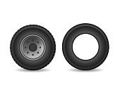 Realistic Detailed 3d Black Rubber Tires and Car Wheels Set Isolated on White Background. Vector illustration of Tire Side View