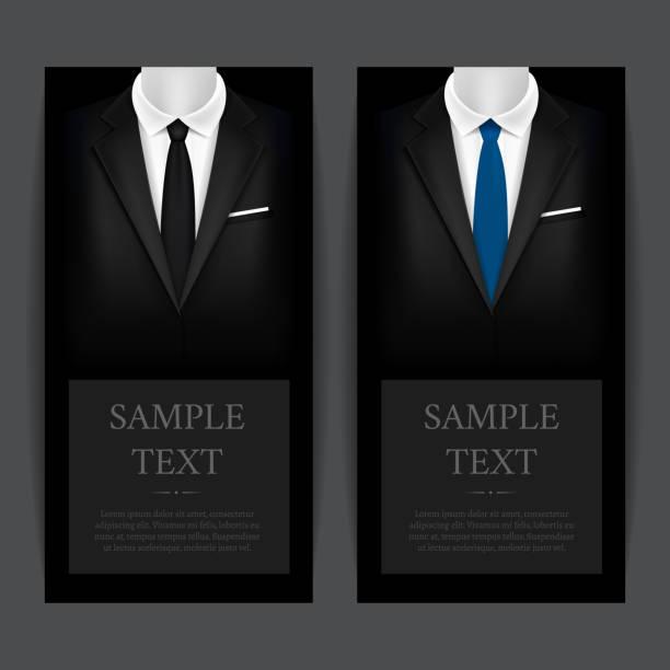 Smoking et réaliste détaillée costume noir 3d bannière Vecrtical ensemble. Vector - Illustration vectorielle