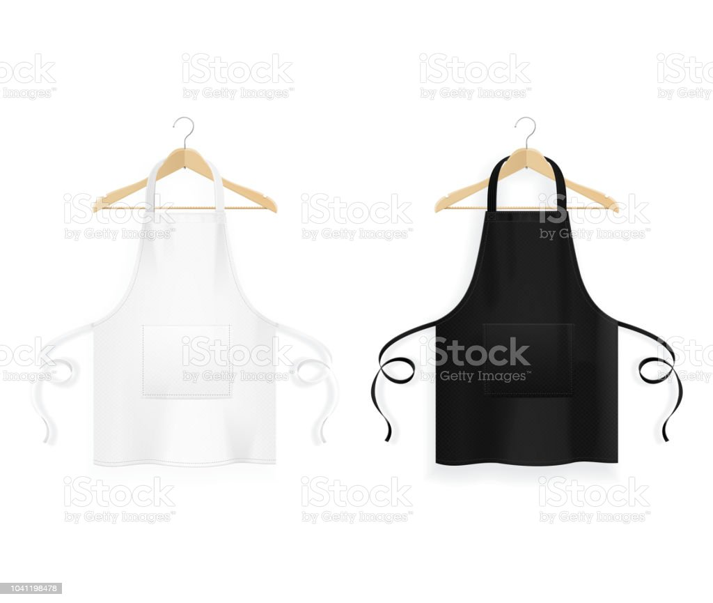 Realistic Detailed 3d Blank Black and White Kitchen Apron with Wooden Clothes Hangers Template Mockup Set. Vector vector art illustration