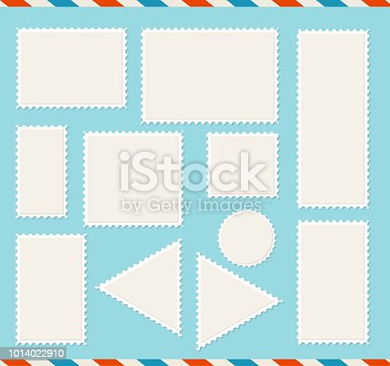 Realistic Detailed 3d Blank Empty Template White Post Mark Set for Postal Letter and Card. Vector illustration