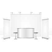 Realistic Detailed 3d Blank Empty Template Exhibition Stand Set for Marketing and Advertising. Vector illustration of Commercial Construction Elements