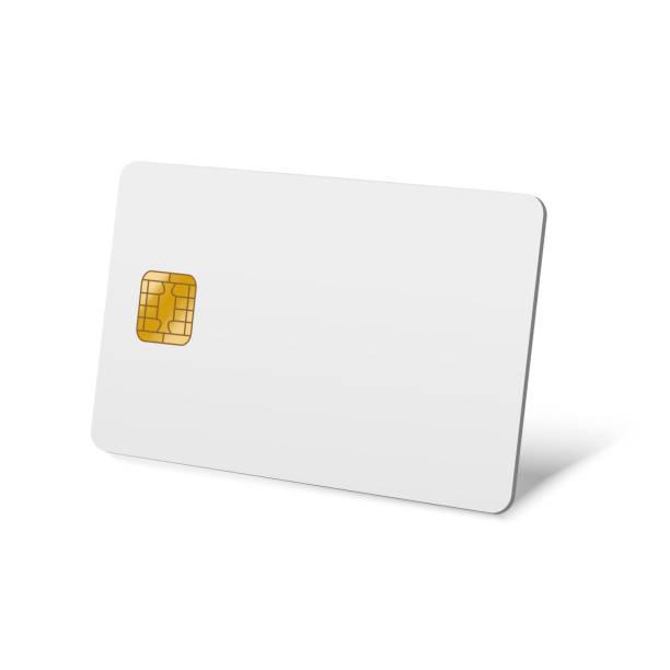 현실적인 상세한 3d 빈 플라스틱 신용 카드 벡터 - credit card stock illustrations