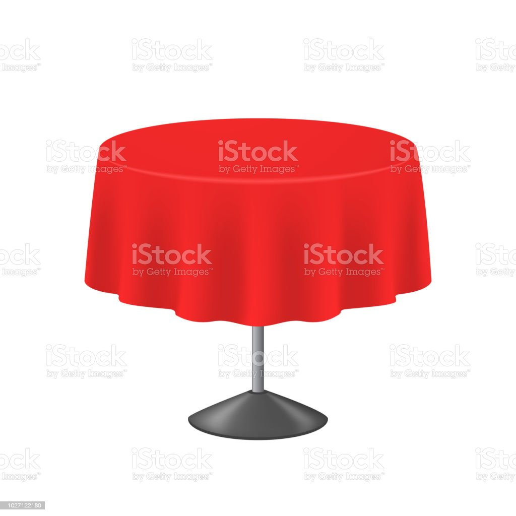 Realistic Detailed 3d Blank Red Round Table. Vector Vector Art Illustration
