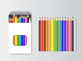 Realistic Detailed 3d Box of Colored Pencils and Pencil Set School Equipment. Vector illustration of Paper Packaging