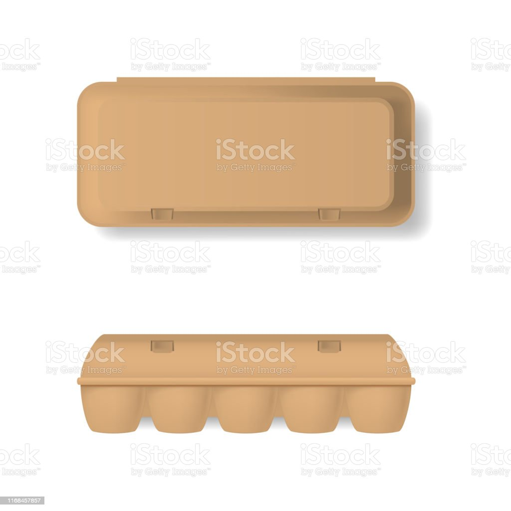 Realistic Detailed 3d Brown Blank Plastic Container For Eggs
