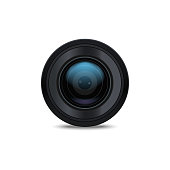 Realistic Detailed 3d Camera Lens Closeup View Professional Technology Photography Optical Equipment for Web. Vector illustration of Objective Camera