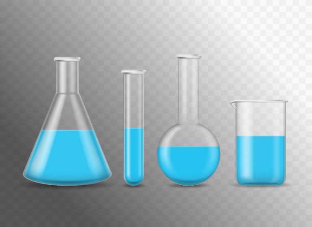 realistische detaillierte 3d chemische glaskolben gesetzt. vektor - becherglas stock-grafiken, -clipart, -cartoons und -symbole