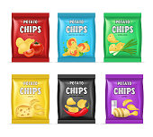 Realistic Detailed 3d Chips Advertisement Bag Set Crunchy Delicious Tasty Snack Product with Different Flavors. Vector illustration