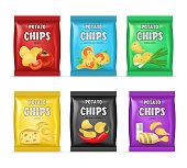 Realistic Detailed 3d Chips Advertisement Bag Set. Vector