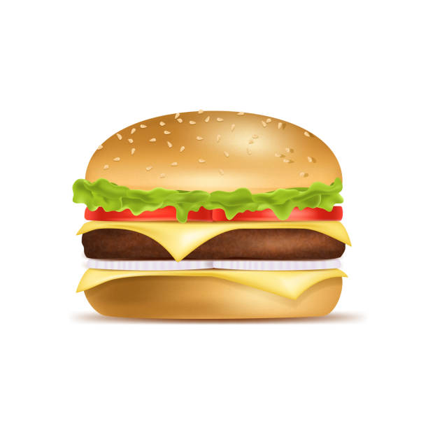 Realistic Detailed 3d Classic American Hamburger. Vector Realistic Detailed 3d Classic American Hamburger Include of Tomato, Onion, Cheese and Beef. Vector illustration of Burger cheeseburger stock illustrations
