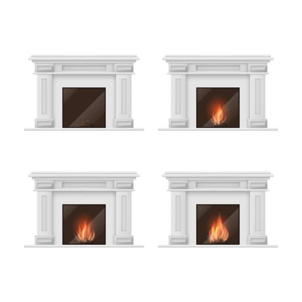 ilustrações de stock, clip art, desenhos animados e ícones de realistic detailed 3d classic fireplace set. vector - braseiro