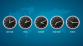 Realistic Detailed 3d Clock on a Map World Time Concept Include of Paris, Moscow, Sydney and Tokyo. Vector illustration