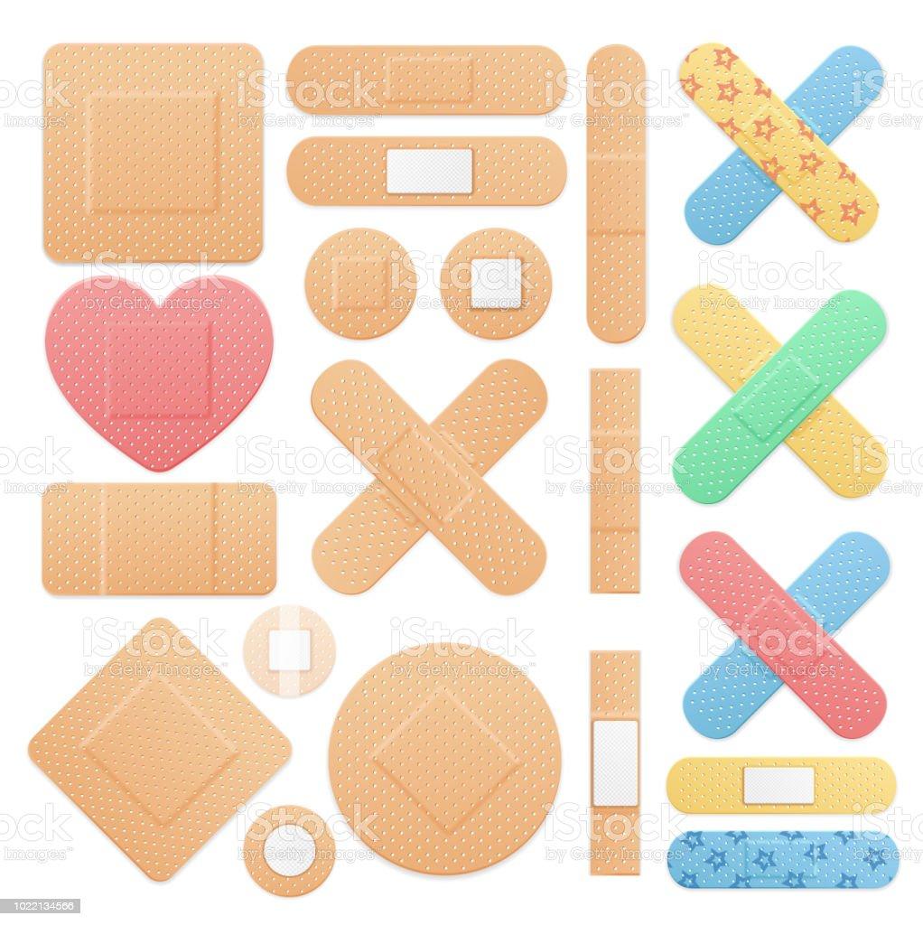 réaliste 3d détaillée couleur aide bande plâtre médical patch set