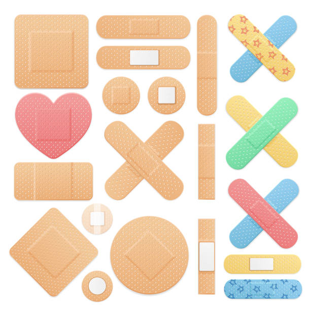 Realistic Detailed 3d Color Aid Band Plaster Medical Patch Set. Vector Realistic Detailed 3d Color Aid Band Plaster Medical Patch Set on a White. Vector illustration of Sticky Note adhesive bandage stock illustrations
