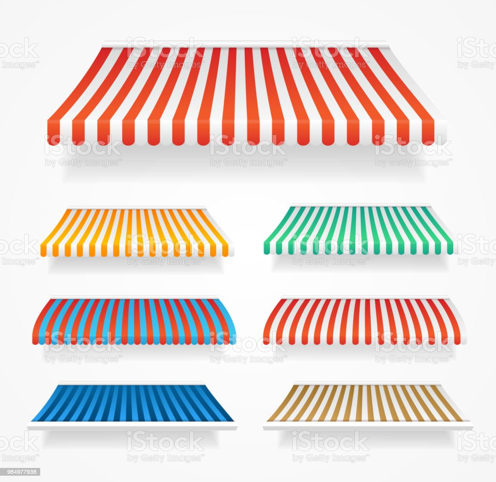 Realistic Detailed 3d Color Awnings Set. Vector vector art illustration