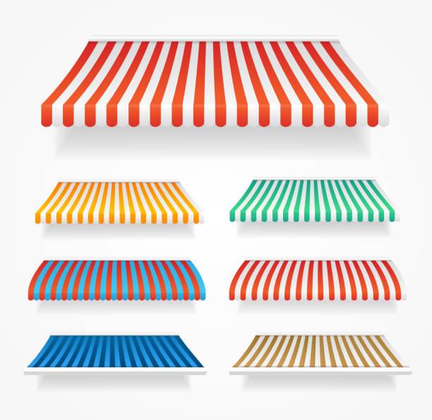 realistische detaillierte 3d farb-markisen-set. vektor - dachzelt stock-grafiken, -clipart, -cartoons und -symbole