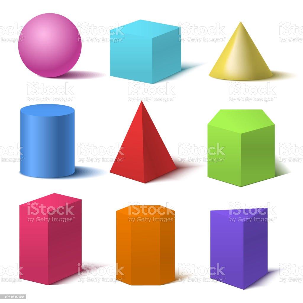 Realistische gedetailleerde 3D-Set van de basisvormen van de kleuren. Vector - Royalty-free Abstract vectorkunst