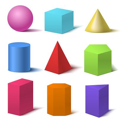 Realistic Detailed 3d Color Basic Shapes Set. Vector