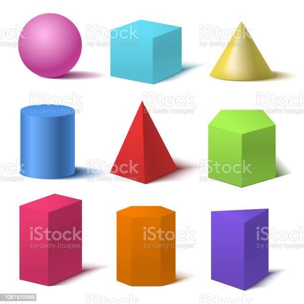 Realistische Gedetailleerde 3dset Van De Basisvormen Van De Kleuren Vector Stockvectorkunst en meer beelden van Abstract