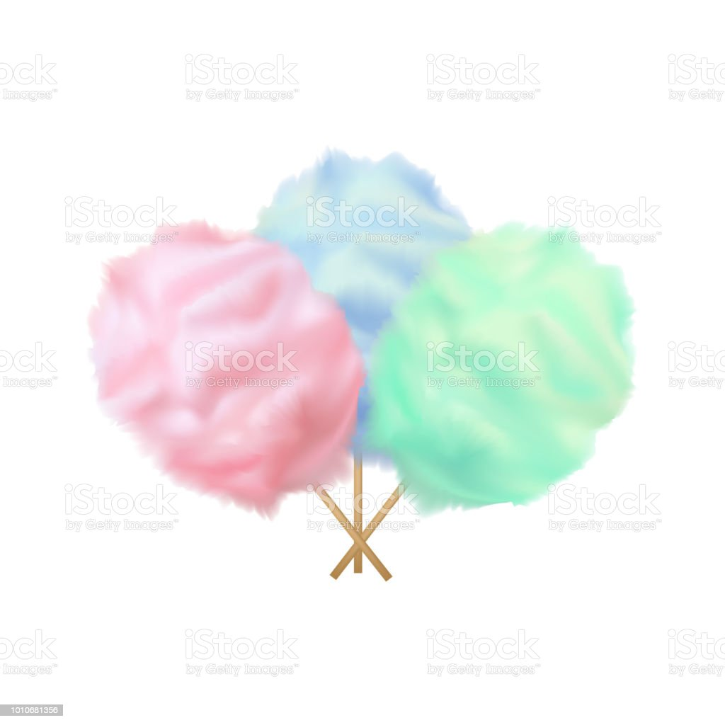 Realistic Detailed 3d Color Cotton Candy Set. Vector vector art illustration