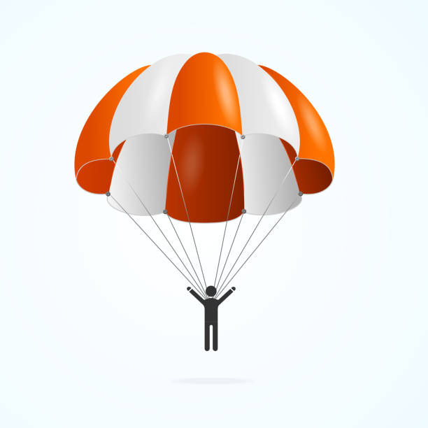 Realistic Detailed 3d Color Parachute and Black Silhouette Person. Vector Realistic Detailed 3d Color Parachute and Black Silhouette Person Isolated on a White Background. Vector illustration of Parachutist Activity Man parachuting stock illustrations
