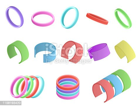 Realistic Detailed 3d Color Wristband Set Various Types Elastic Rubber or Silicone Symbol of Solidarity. Vector illustration of Bracelet