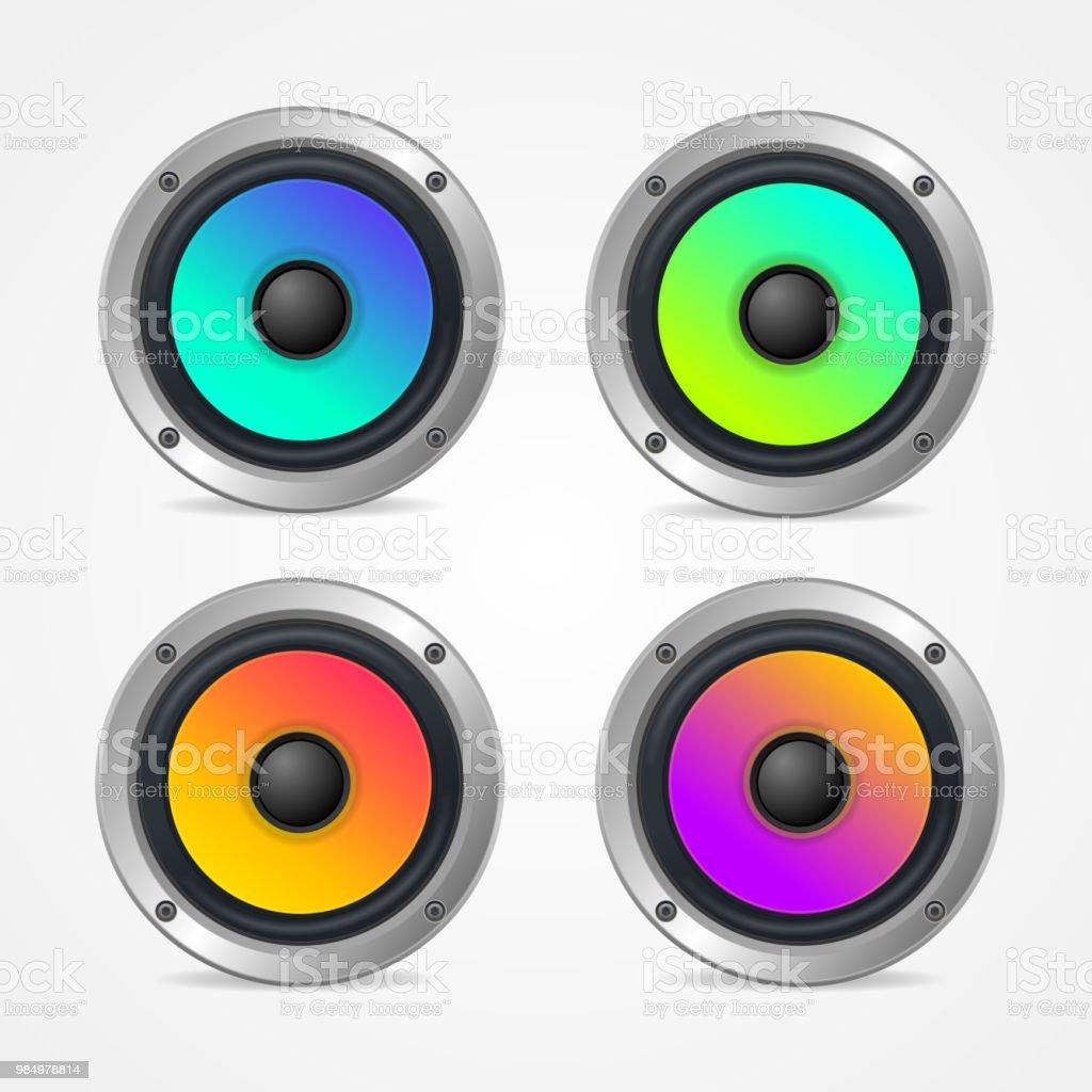 Realistic Detailed 3d Colorful Audio Speaker Set. Vector