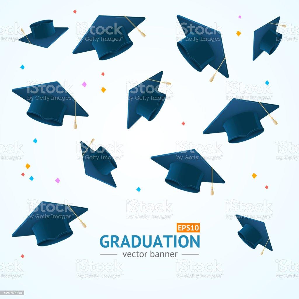 Realista detallada graduación concepto tarjeta fondo de 3d educación. Vector de - ilustración de arte vectorial