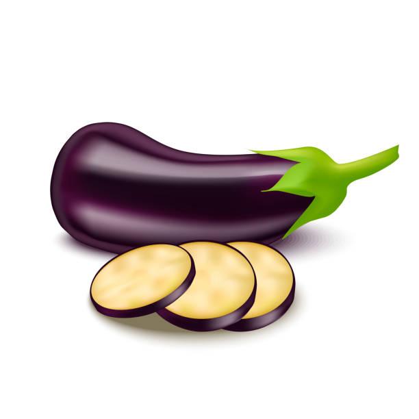 illustrazioni stock, clip art, cartoni animati e icone di tendenza di realistic detailed 3d eggplant and slice. vector - melanzane