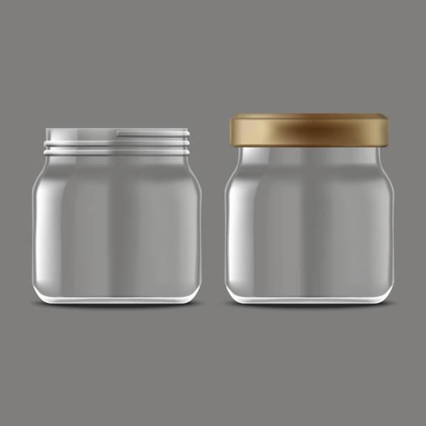 ilustrações de stock, clip art, desenhos animados e ícones de realistic detailed 3d empty jam glass jar set. vector - jam jar