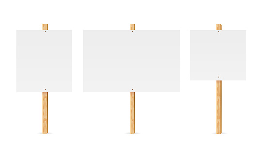 Realistic Detailed 3d Empty Template Mockup Table or Board Protest on Wood Stick Set. Vector illustration