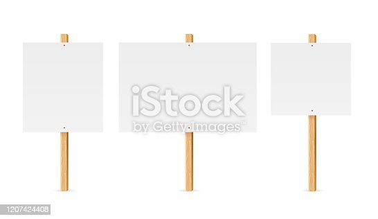 istock Realistic Detailed 3d Empty Template Mockup Table Protest Set. Vector 1207424408