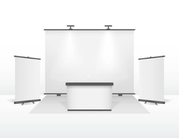 Realistic Detailed 3d Exhibition Stand Design Set. Vector vector art illustration