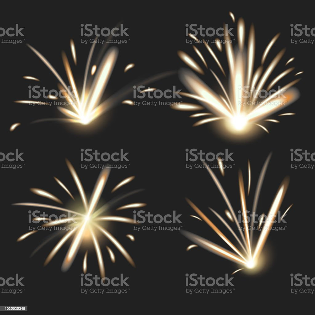 Realistic Detailed 3d Bright Fire Sparks on a Black Background...