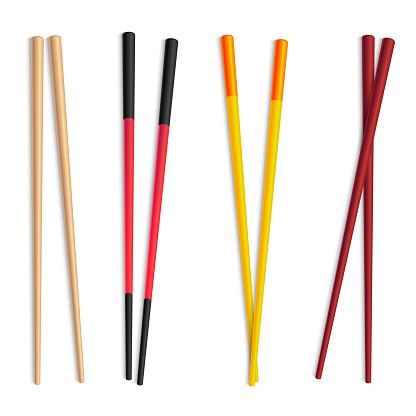 Realistic Detailed 3d Food Chopsticks Set. Vector