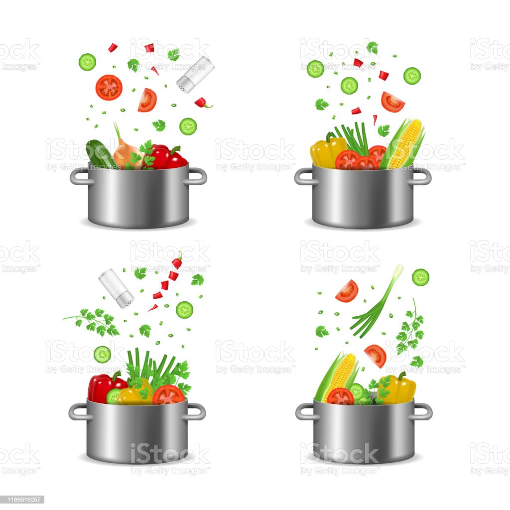 Realistic Detailed 3d Food Ingredients Fly Pot Set Include of Tomato,...
