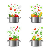Realistic Detailed 3d Food Ingredients Fly Pot Set Include of Tomato, Onion, Pepper, Parsley and Green Cucumber. Vector illustration