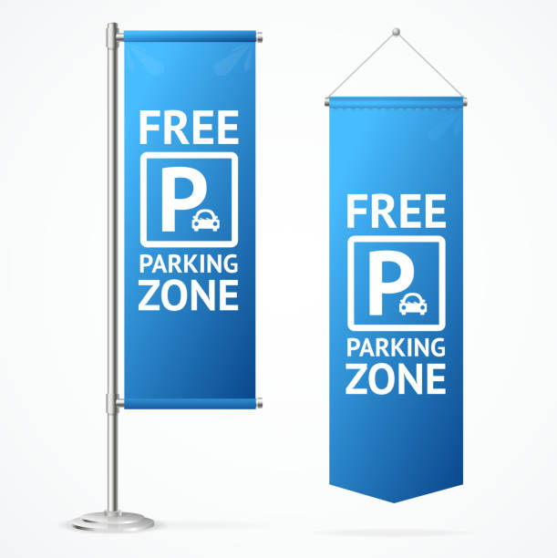 Realistic Detailed 3d Free Parking Zone Set. Vector Realistic Detailed 3d Free Parking Zone Set Hanging Pennant and Flagpole with Base. Vector illustration of Signboard flagpole stock illustrations