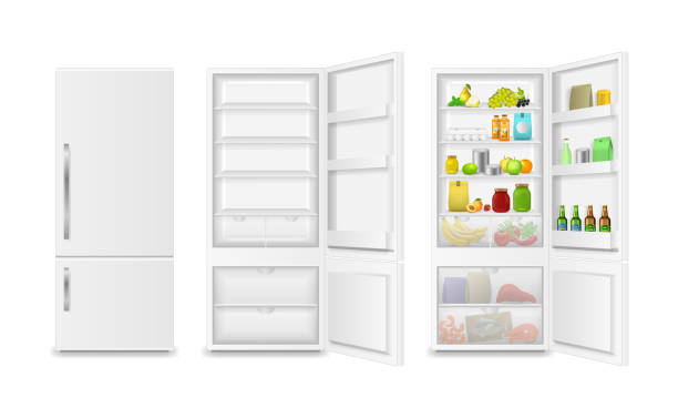Realistic Detailed 3d Full and Empty Fridge. Vector Realistic Detailed 3d Full with Product and Empty Fridge Open and Close Kitchen Element. Vector illustration of Refrigerator refrigerator stock illustrations