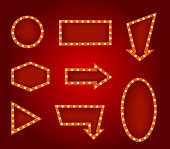 Realistic Detailed 3d Glowing Signs Set Different Types. Vector illustration of Light Bulbs Vintage Neon Glow Banner Frame