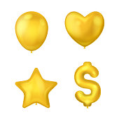 Realistic Detailed 3d Shiny Golden Balloons Set Different Types Include of Star and Heart. Vector illustration of Balloon