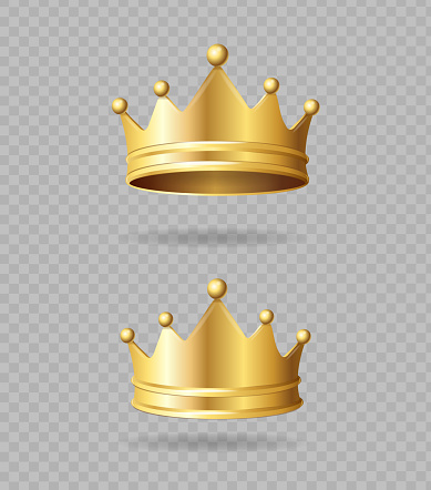 Realistic Detailed 3d Golden Crown Set on a Transparent Background Symbol of Power. Vector illustration of Crowns